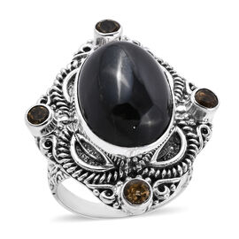 Royal Bali 25.85 Ct Black Star Diopside and Citrine Balinese Design Ring in Sterling Silver