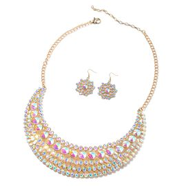 2 Piece Set - Simulated Mercury Mystic Topaz and Simulated Mystic White Crystal Necklace (Size 21) a