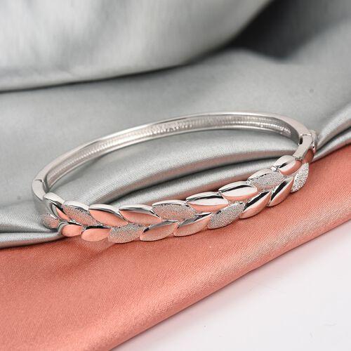 RACHEL GALLEY Platinum Overlay Sterling Silver Leaf Design Bangle (Size 8)