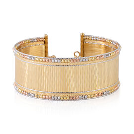 Italian Made Cuff Bangle in 9K Yellow, Rose and White Gold Bangle 16.80 Grams
