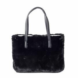 Super Soft Black  Colour Faux Fur Large Tote Bag (Size 36x26 Cm)