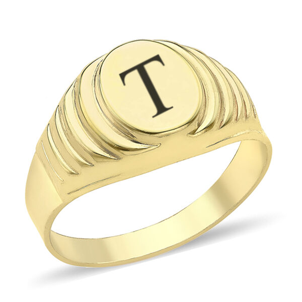 Personalised Engravable 9ct yellow gold Oval Ribbed Signet Ring