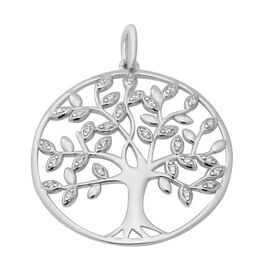 ELANZA AAA Simulated Diamond Tree-of-Life Pendant in Rhodium Gold Overlay Sterling Silver