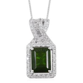 Russian Diopside (Oct 2.25 Ct), Natural White Cambodian Zircon Pendant With Chain in Rhodium Overlay