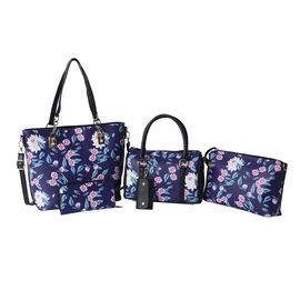 Set of 5 - Floral Pattern Tote Bag (29x12.5x30cm), Convertible Bag (27.5x13x19cm), Crossbody Bag (12