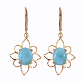 Larimar (Ovl 10x8 mm) Lever Back Earrings in 14K Gold Overlay Sterling Silver 5.750 Ct.