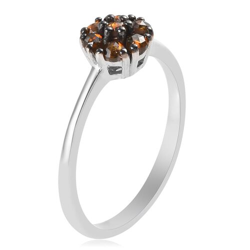 Red Diamond (Rnd) Floral Ring in Platinum and Black Overlay Sterling Silver 0.25 Ct.