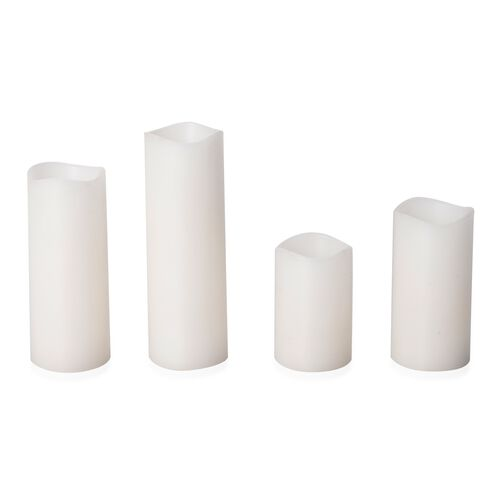 Home Decor - Set Of Four Wax Coated LED Flameless Candles