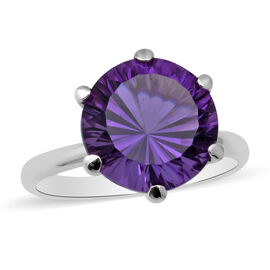 Lusaka Amethyst Solitaire Ring in Rhodium Overlay Sterling Silver 6.50 Ct.