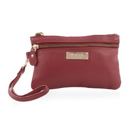 100% Genuine Leather Red Colour Wristlet Pouch (Size 18.5x12 cm)