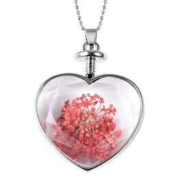 Real Dried Flowers Heart Glass Pendant - Red