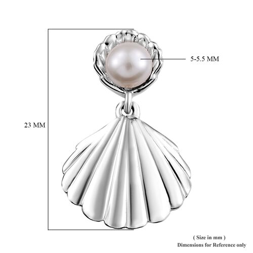 Fresh Water Pearl (1.50 Ct) Platinum Overlay Sterling Silver Earring  1.500  Ct.