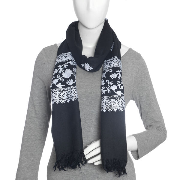 100% Merino Wool Embroidery Black Colour Scarf (Size 200x70 Cm)