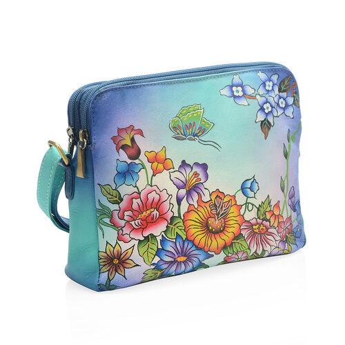 SUKRITI 100% Genuine Leather Floral Print Handpainted RFID Blocking Cross Body Bag with External Zipper Pocket (Size 22x19x5.5 Cm) Colour Blue