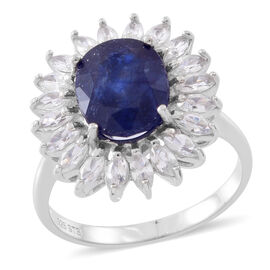 Rare Size Madagascar Blue Sapphire (Ovl 5.25 Ct), Natural White Cambodian Zircon Ring in Rhodium Plated Sterling Silver 7.250 Ct.