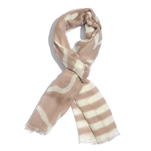 100% Merino Wool Brown and Cream Colour Stripes and Leaves Printed Scarf with Fringes (Size 180X70 Cm)