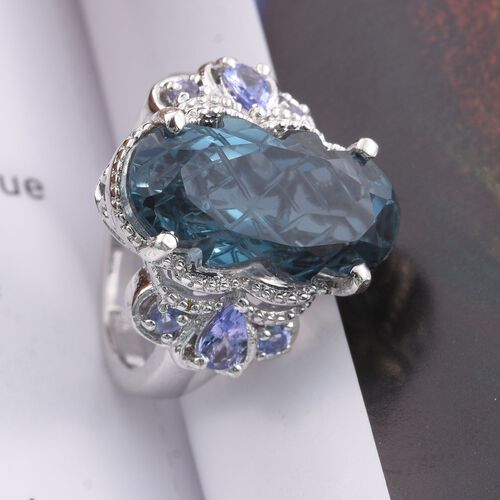 Indicolite Quartz and Tanzanite Ring in Platinum Overlay Sterling Silver 9.750 Ct.