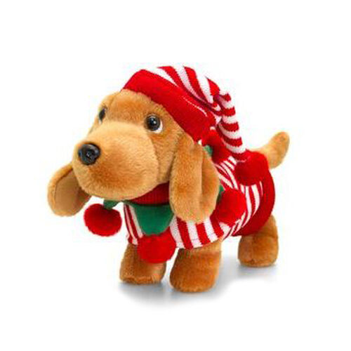 Douggie the Dachshund Dog with Red & White Stipey Hat and Coat