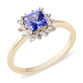 1.26 Ct AA Tanzanite and Zircon Halo Ring in 9K Gold 2 Grams
