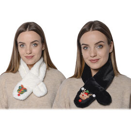 Set of 2 -  3D Bell and Bear Pattern Kids Faux Fur Scarf (10x80cm) - White and Black