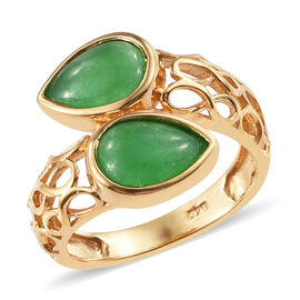 Dyed Color Green Jade (3.25 Ct) 14K Gold Overlay Sterling Silver Ring  3.250  Ct.