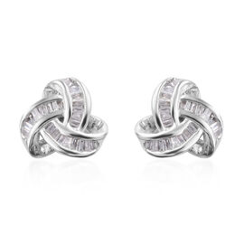 Diamond (Bgt) Triple Knot Stud Earrings (with Push Back) in Platinum Overlay Sterling Silver 0.250 C