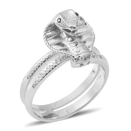ELANZA Simulated Diamond (Rnd), Boi Ploi Black Spinel Cobra Ring in Rhodium Overlay Sterling Silver