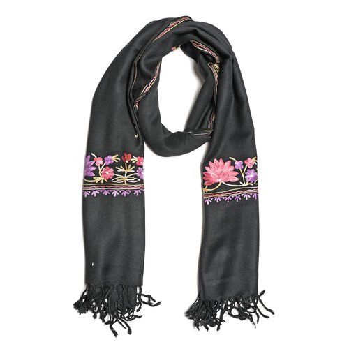 One Time Deal-100% Merino Wool Black, Purple and Multi Colour Flower and Leaves Embroidered Scarf (S