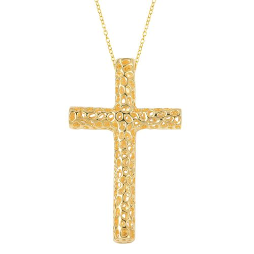 RACHEL GALLEY Yellow Gold Overlay Sterling Silver Cross Pendant With Chain (Size 30), Silver wt 14.0