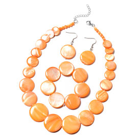 3 Piece Set Orange Shell Necklace 18 with 2 inch Extender Stretchable Bracelet 7 Inch and Hook Earri
