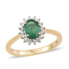 ILIANA 18K Yellow Gold AAAA Premium Santa Terezinha Emerald (Ovl 8x6 mm), Diamond Ring 1.250 Ct.