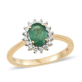 ILIANA 1.25 Carat AAAA Emerald and Diamond Halo Ring in 18K Gold 4.01 Grams