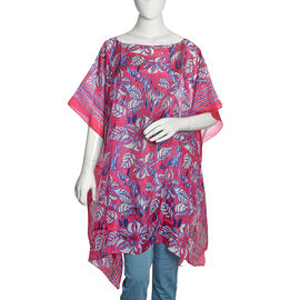 100% Mulberry Silk Fuchsia, Blue and White Colour Handscreen Floral and Leaves Printed Kaftan (Free Size)