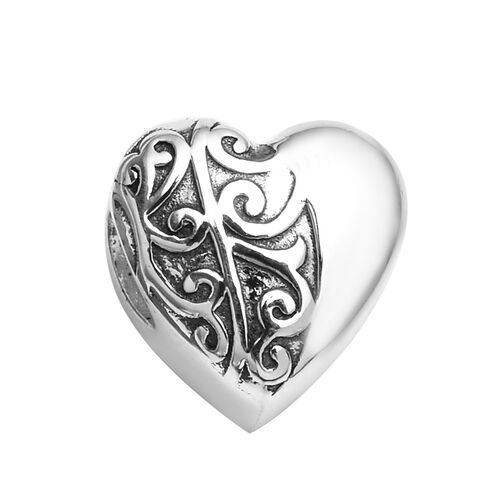 Charmes De Memoire Filigree Heart Charm in Platinum Plated Sterling Silver 3.25 Grams