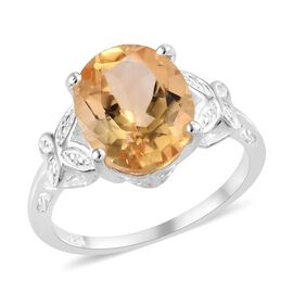 Citrine (Ovl 11x9) Solitaire Ring (Size T) in Sterling Silver 3.25 Ct.