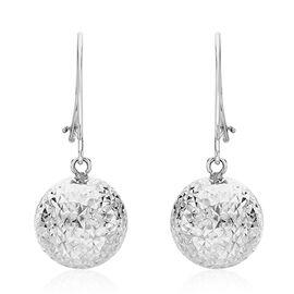 Diamond Cut Ball Drop Earrings in 9K White Gold