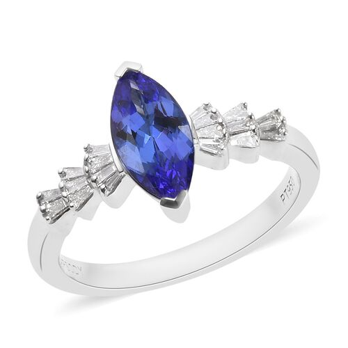 RHAPSODY 1.20 Ct AAAA Tanzanite and Diamond Marquise Solitaire Ring in 950 Platinum VS EF