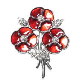 TJC Poppy Design - White Austrian Crystal Enamelled Poppy Bouquet Brooch in Silver Plated