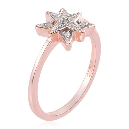 Diamond Starburst Ring in Rose Gold Overlay Sterling Silver 0.05 Ct.