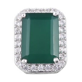 7.5 Ct Verde Onyx and Cambodian Zircon Halo Pendant in Platinum Plated Sterling Silver 2.50 Grams
