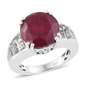 Designer Inspired- African Ruby (Rare Size Rnd 12 mm 9.15 Ctst), White Topaz Ring in Platinum Overla