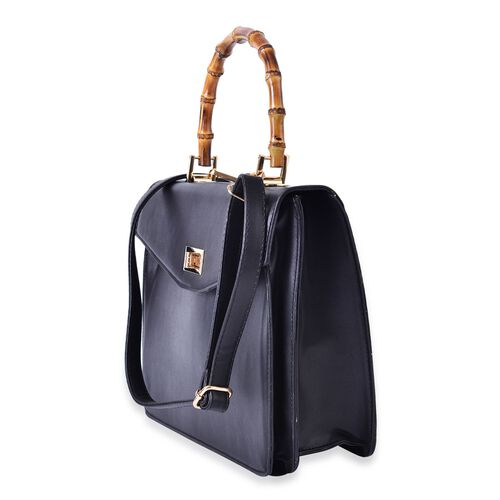 Bamboo Top Handle Black Colour Tote Bag with External Zipper Pocket and Adjustable and Removable Shoulder Strap (Size 30x24x12 Cm)