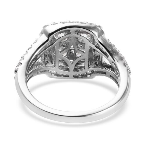 J Francis Platinum Overlay Sterling Silver Ring Made with SWAROVSKI ZIRCONIA 6.03 Ct.