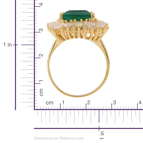 Verde Onyx (Sqr 6.00 Ct), Natural White Cambodian Zircon Ring in 14K Gold Overlay Sterling Silver 10.250 Ct.