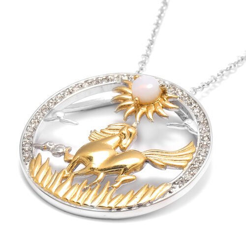 Opalite and White Austrian Crystal Horse Pendant with Chain (Size 24) in Gold Tone and Plain Stainless Steel