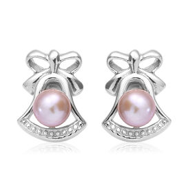Fresh Water Pearl - Pink (Rnd) Stud Earrings (with Push Back) in Platinum Overlay Sterling Silver
