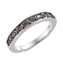 Red Diamond Half Eternity Band Ring in Platinum Plated Sterling Silver 0.10 Ct