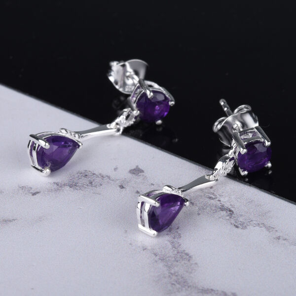 MP Amethyst (Pear and Rnd) Earrings (with Push Back) in Sterling Silver 2.11 Ct.