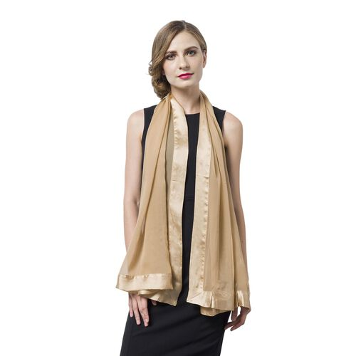 End Of Season Deal -100% Mulberry Silk Beige Colour Scarf with Satin Border (Size 160X60 Cm)