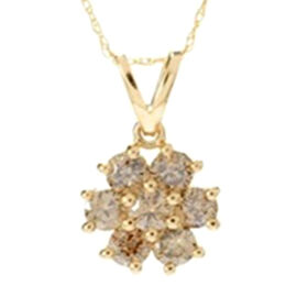 14K Yellow Gold Natural Champagne Diamond (I2-I3) Pendant with Chain 1.00 Ct.